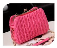 2014 rhombus plaid embroidery clip pleated bag messenger bag PU bag rose fashion women's handbag