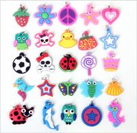 50pcs/lot 25 Styles Cute Cartoon Rubber Loom Bands Charms Soft Hanging Pendants For Diy Bracelets