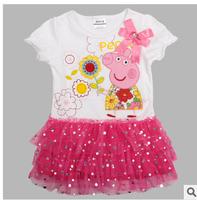 Hot Sale 2014 new peppg pig  Dress Summer Dress For Girl Hot Princess Dresses Brand Girls Dress Children Clothing Kids Wear A03