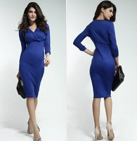 New Arrive 2014 Ladies Fashion Long Sleeve Blue Office Pencil Dress Knee-Length Midi Sexy Bodycon Dresses Women with elasticity