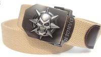 2014 free post 110cm/140cm skull men thickening canvas belt durable