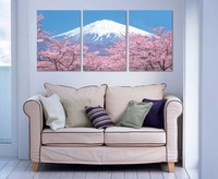 3 Panel modern wall art home decoration frameless oil painting canvas prints pictures P344 Japanese Mount Fuji cherry blossom