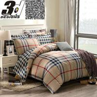 boys fashion bedding set queen king size Stripes/Plaid reactive print bedclothes 100% Cotton bedclothes Comforter cover sheets