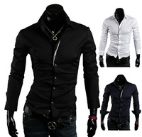 free shipping Autumn new arrival 2014 unique front fly color block casual shirts men's long-sleeve shirt YK9087