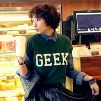 2014 summer (Gray A, B, Black and Green) geek letter roll sleeve loose short-sleeve T-shirt with free shipping