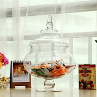 *Free Shipping*LMG002 Medium  Glass Candy Jar Storage Jar with glass lid glass cover height 28cm diameter 17cm