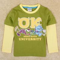 2014 Newness Ratail Nova Brand Boys Monsters University Cartoon t Shirt Long Sleeve t-Shirt Free Shipping