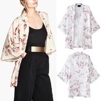 2014 Summer Vintage Women Floral Bird Print Loose Kimono Tops Cardigan Jacket