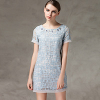 Fashion high quality plus size clothing summer short-sleeve organza one-piece dress