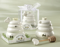 "Newest wedding supplies ""Meant to Bee"" Ceramic Honey Pot with Wooden Dipper ,party favors 50pcs/lot"