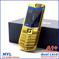 2014 new! New A1 luxury local tyrants Luxury Phone, v1 Metal Body 1.3MP Camera Bluetooth FM Dual SIM,Russian keyboard phone