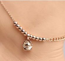 2014 New High quality wedding foot jewelry Cut Cat chain of beads 316L Titanium Steel Rose