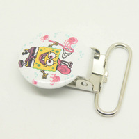 Free shipping!200pcs/lot,25mm width fabric printed suspender clips spongebob pattern clips suspender wholesale suspender clips