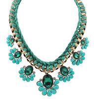 European and American Fashion Luxury Rhinestone Flower Women's Choker Necklace 4 Color Jewelry L0315