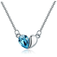 Austrian Blue Crystal Heart Pendant Necklace 18K White Gold Plated Women's Charm Jewelry Free Shipping (CN035)