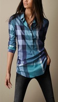 Hot Sale 2014 Women Fashion Famous Brand Style Long Sleeve Big Plaid Casual Cotton Shirts/Designer OL Office Tops/Blouse#8521-85