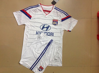 Lyonnai Home White 14-15 A+++ Quality Adult Embroidery Soccer Jersey/ Uniform Shirt Sports Clothing Player Version Kits