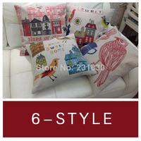 "1pcs Cotton Linen Pillow Case Cute Birds Hold Cushion Cover Waist Pillowcase 6 patterns of DECORATIVE PILLOW 18"""
