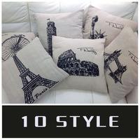 "1pcs Cotton Linen Retro American style Hold Cushion Cover Waist Pillowcase 10 patterns of DECORATIVE PILLOW 18"""