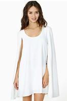 2014 Summer XS - XXL Women Magic Bavy Cloak Cape Elegant Temperament Round Neck Chiffon Dress Black White Dress