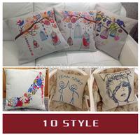 "1pcs Cotton Linen Pillow Case Cute Illustration Hold Cushion Cover Waist Pillowcase DECORATIVE PILLOW 18"" Free Shipping"