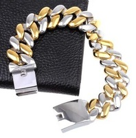 Domineering 316L Stainless Steel 24.5mm Wide Heavy Curb Chain Bracelet Silver and Gold Mens bracelet