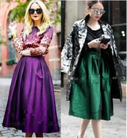 High Quality 2014 New Women's Hepburn Vintage High Waist A-line Ball Gown Midi Pleated Skater Swing Skirt Length 70cm Plus size