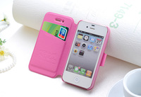 leather flip protective slim cover capa pink 4 4S 5 5S for iphone 5 case card holder for iphone 4 case card holder leather