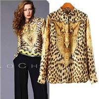 CS0342 european style wild leopard eagle print Splice long sleeve Imitation silk loose brand ladies blouse