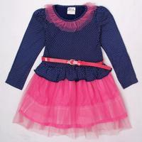 girl print dress brand 2014 Nova baby & kids clothing polka dots belt fashion baby girls party princess evening lace dress H4795