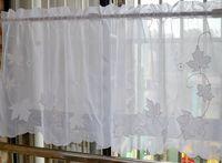 Elegant embroidered white leaves Kitchen /Bathroom Curtain  valance Tire   75x60cm