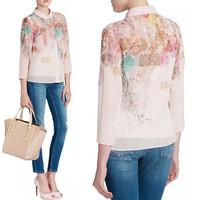 2014 cheap hot women chiffon blouse shirt printing Ms. OL nine points sleeve free shipping DH-9179