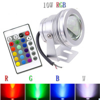 Remote RGB 12V 24v 10W LED underwater lights flood light with convex glass 3 year warranty Quickly through Freeshipping