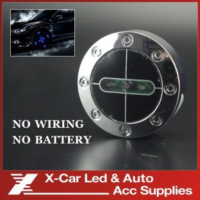 2 pcs/lot Car Decoration Waterproof flash Wheel light flashing blue Color LED Car Light Rolling Fire lamp No Wiring No Battery(China (Mainland))