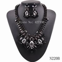 2014 popular new design fashion big flower big chunky statement necklace & earrings women jewelry set  free shipping