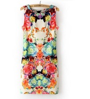 2014 summer new sexy dress o-Neck sleeveless vintage one piece flower print slim tank casual mini hot dress sundress