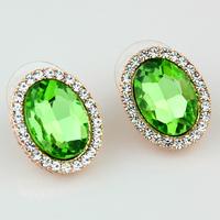 New fashion popular 2014 all-match accessories green crystal stud earring zircon crystal earrings drop earring