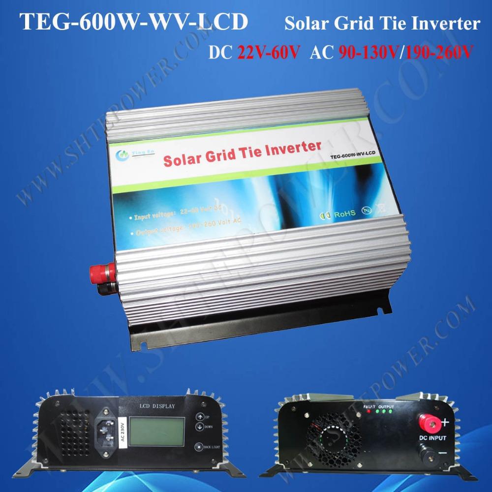 600w dc 22v-60v to ac 110v/220v on grid tie mppt solar inverter with LED(China (Mainland))