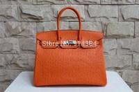 High-quality (1:1) 30CM Ostrich handbag (H-handbags) French style Women's handbags purse 100% Genuine leather Tote Gold hardware