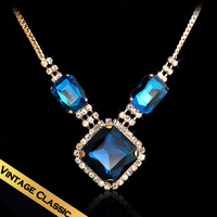 Special Discount Free Shipping Blue Cubic Zircon Pendant Necklace Women Statement Necklace XL14A070905