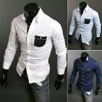 Free Shipping New man spring 2014 Hit color plaid long-sleeved shirt Men's casual business shirts modified