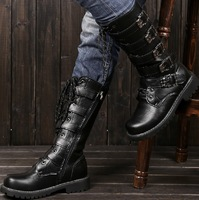 Men  fashion High boots Military boots Cowboy boots