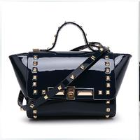 Fashion women's handbag high quality patent leather mini bag designer rivet bags with strap ladies purse black red white 6colors