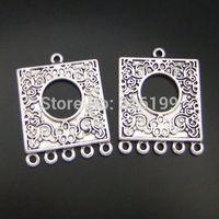 25pcs Atq bronze flower circle square connectors 19*19*1mm  04533/04484