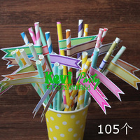 Free shipping 105pcs Straw Flags, Baby Shower Cupcake Flags,diy party decor,Cupcake Topper Flag,Bake Sticker label,Straw labels