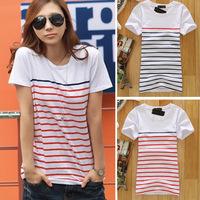 Free shipping HOT SALE! Women's navy style high quality lycra cotton stripe short-sleeve print slim T-shirt tops for women girls