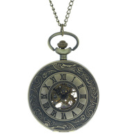 Retro Vintage Bronze Hand Wind Punk Pendant Chain Skeleton Mechanical Pocket Watches Fob Classic Steampunk Jewelry Free shipping