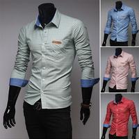 Free Shipping New man spring 2014 Autumn Shirts Exquisite classic plaid men's casual shirts men's business shirt