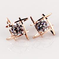 New arrival 2014 18k rose gold zircon rhinestone stud earring 925 silver fashion accessories