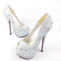 Free shipping Fashion rhinestone open toe shoe silver black 15.5cm ultra thin high heels heels platform wedding party shoes